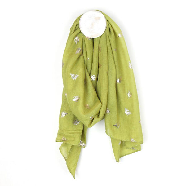 Lime green and silver bee scarf