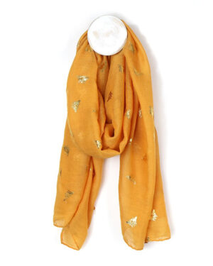 Mustard yellow bee scarf