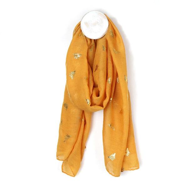 Mustard yellow bee scarf