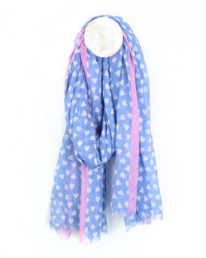 Pale blue scarf with white heart print and pink boarder