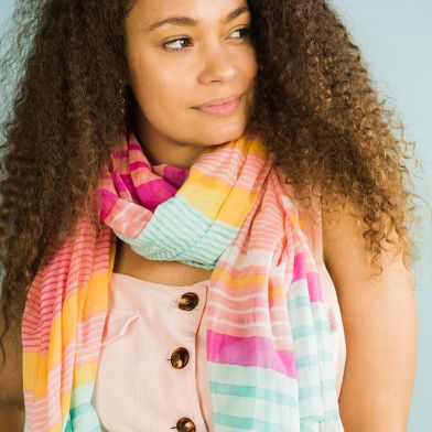 Candy stripe scarf with tassels