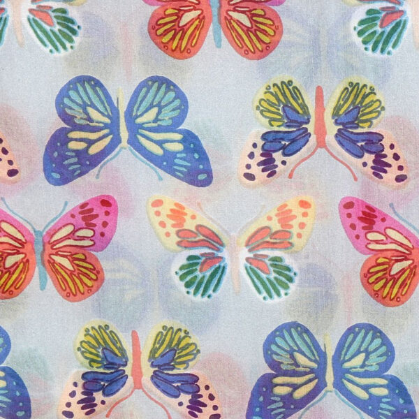 Grey Multi Coloured Butterfly Silk Scarf