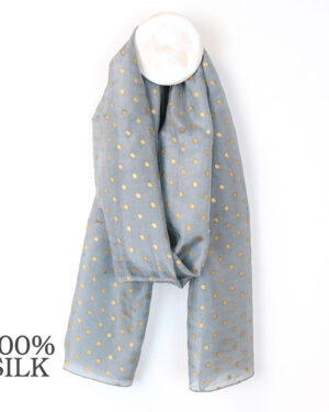 grey and gold dot silk scarf