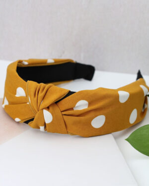 mustard and white dotty headband