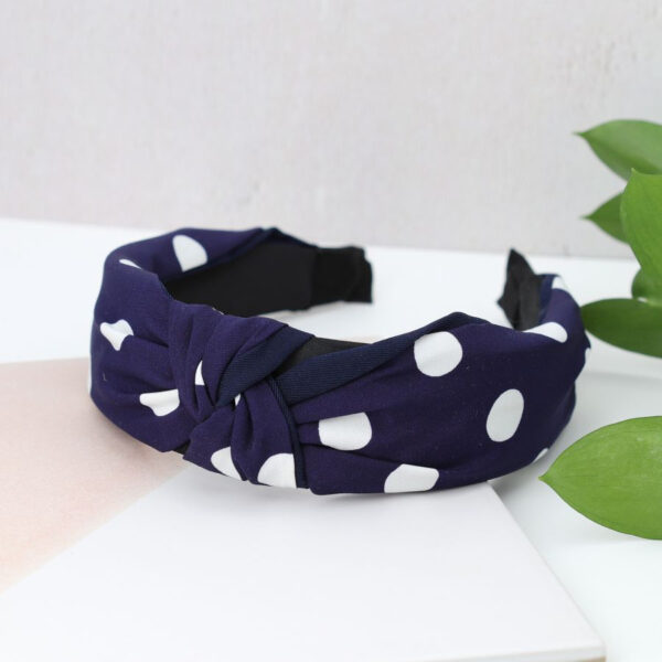 navy and white spotted headband