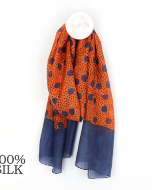 orange and navy spot silk scarf