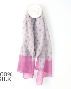 pale grey and dusky pink dot silk scarf