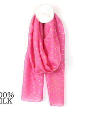 pink and gold dot silk scarf