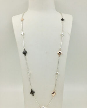 3 tone long necklace