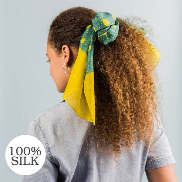 turquoise and mustard spot silk scarf