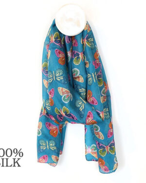 Turquoise Multi Butterfly silk scarf