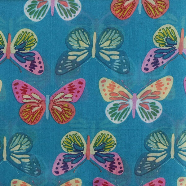 Turquoise Multi Coloured Butterfly silk scarf