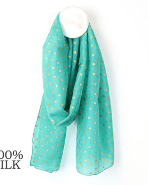 turquoise and gold spot silk scarf
