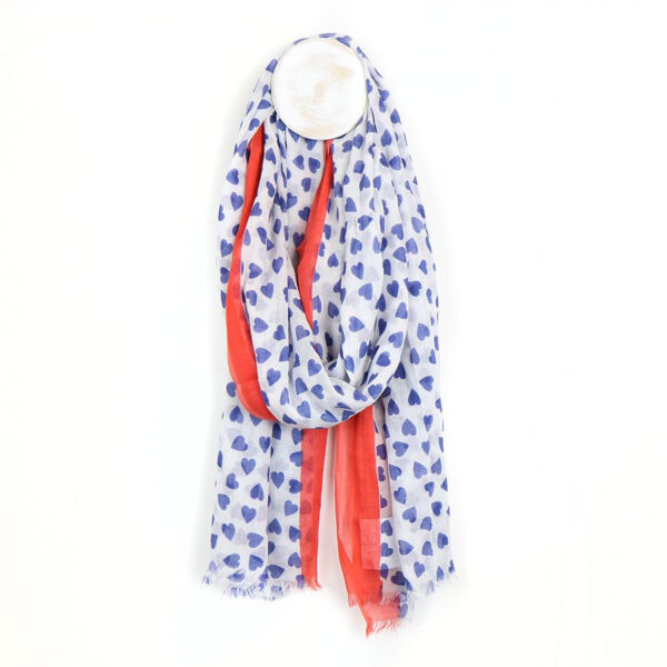 White, blue & red heart print scarf