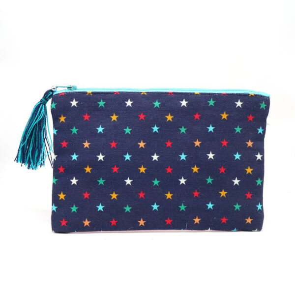 navy multicoloured star purse