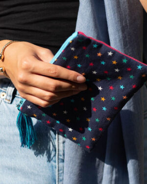 Navy multicoloured star purse