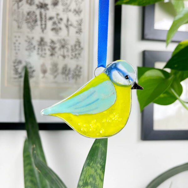 Fused glass blue tit decoration