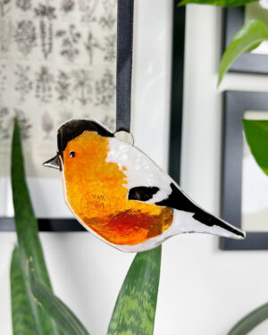 Bullfinch fused glass decoration
