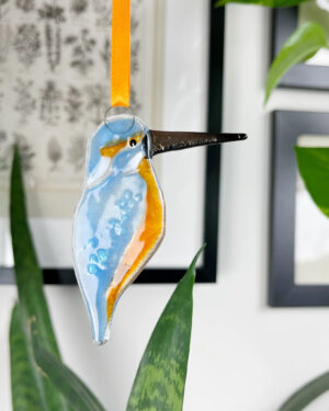 Kingfisher fused glass decoration