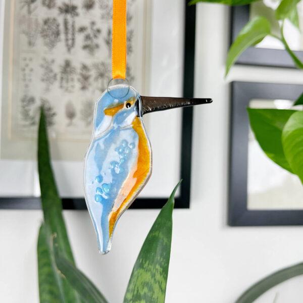 Kingfisher fused glass decoration