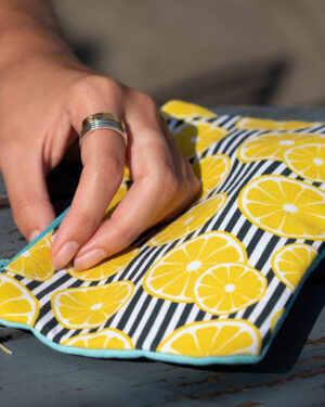 Lemon striped cotton purse