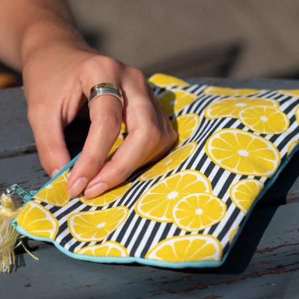 Lemon striped cotton purse