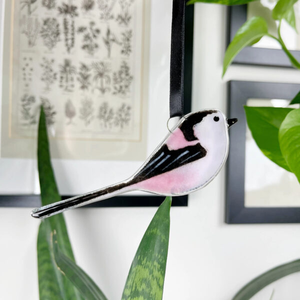 Long tailed tit fused glass decoration