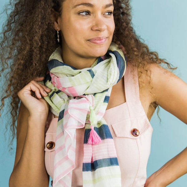 Pink grey/blue and mint scarf