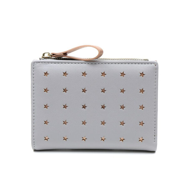 soft grey and rose gold star purse