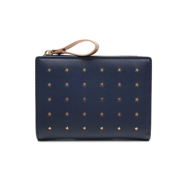navy and rose gold star purse